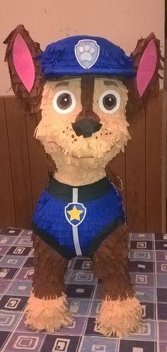 Piñata de Chase, How to make  Paw Patrol  piñata, Patrulla Canina,                                                                                                                                                                                 Más