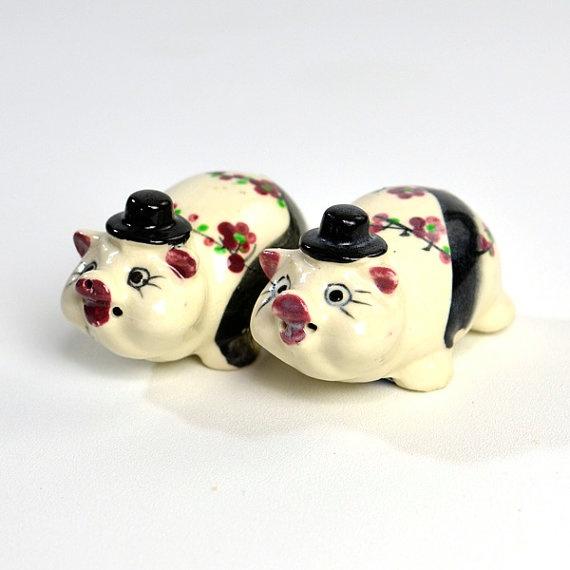Cherry Blossom Pig Salt & Pepper Shakers - Porcelain, Empress Japan - Black Top…