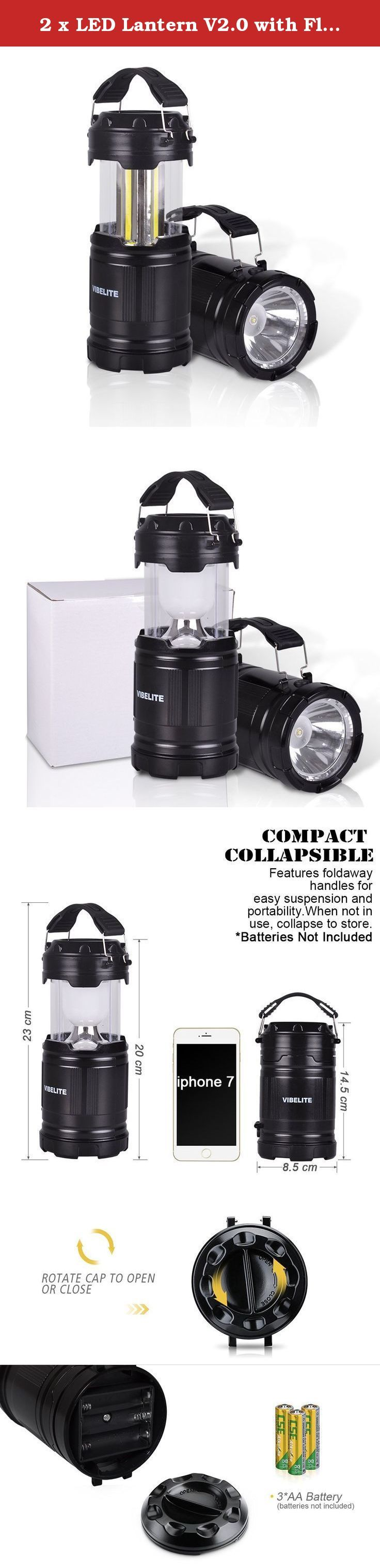 2 x LED Lantern V2.0 with Flashlight - 2016 COB Technology emits 300 LUMENS! - Collapsible Tough Lamp - Great Light for Camping, Car, Shop, Attic, Garage - 5 YEAR WARRANTY. Our Camping Lantern features the LATEST LED TECHNOLOGY in the form of three 48mm COB strips. Gone are the 30 small LEDs of our previous lantern which gave out far less light per watt consumed. For this latest version we've added a FLASHLIGHT in the base, giving unrivaled versatility coupled with our superior COB...