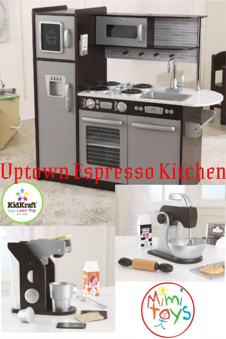 Let the children hum-away where they role play their understanding of the adult world. Kidkraft Uptown Espresso Play Kitchen is large enough for several children to play at the same time. This wooden kitchen has appealing modern colours.