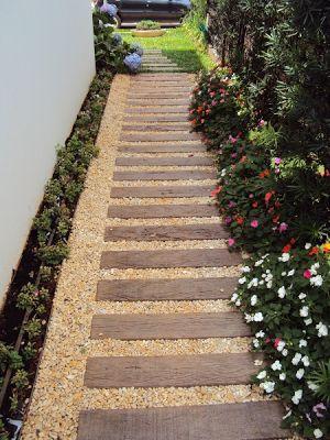 Caminho com Placa Cimentícia que imita madeira