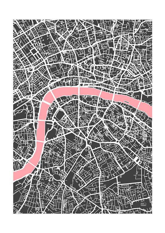 London, printed on clay coated non gloss paper, part of the Sarah Tomanelli Giclée City Maps Series  Map is dark grey with white details and single detailed depicted in chosen secondary colour.  Size is A1 (594mm x 841mm)  Available in five colours, printed locally and posted in a hard tube.  Original limited print number stamped on front border.  Includes annotated map sheet with for the area depicted on the print.   Note: Many of the images depicted show a white mat (border) this is to…