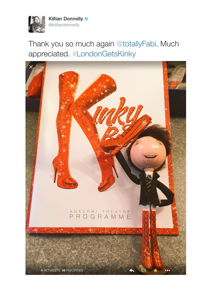 Killian Donnelly tweeting hos thanks for his Kinky Boots Doll