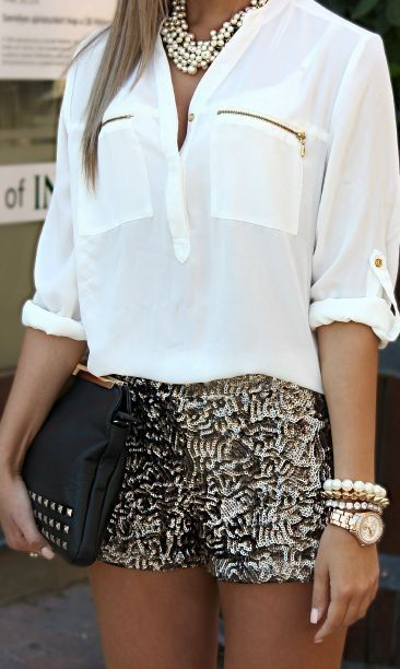 #street #style #womens #fashion #spring #outfitideas | White top + silver sequin shorts
