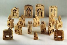 The so-called Charlemagne Chessmen These piece were at the Saint Denis Abbey since the end of the 13th century. They are dated from the end of the 11th century and were probably manufactured in Salerne, near Napoli in South Italia. This is confirmed by their Normand military equipment, which can be related to the famous Tapisserie de Bayeux