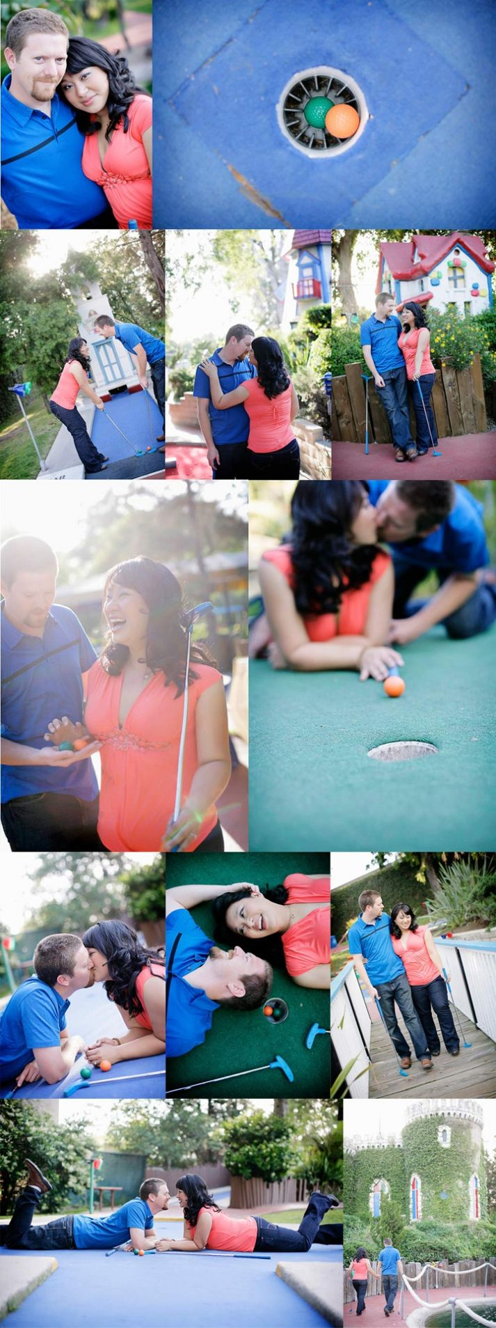 Mini Golf Engagement Session | Love the layng on the green pose. (Alders Photography)