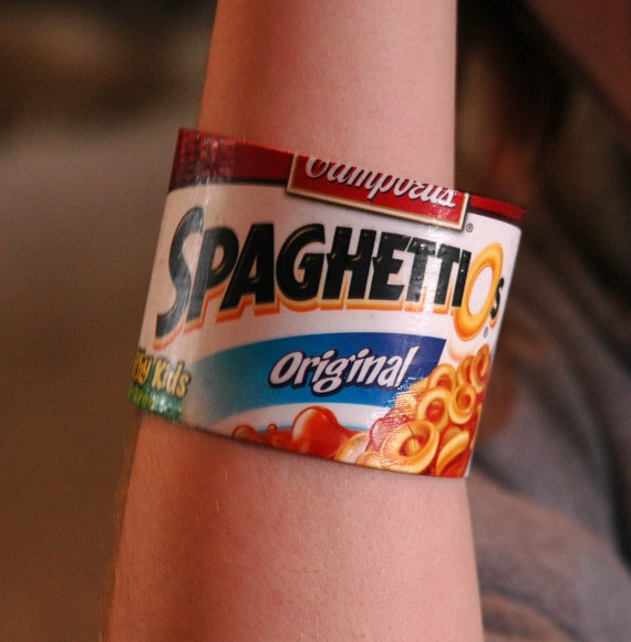 Spaghettios recycled bracelet by RecycledArts on Etsy, $2.50
