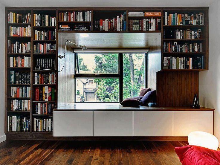 【真ん中に入って読書】デイベッド付き巨大作り付け本棚