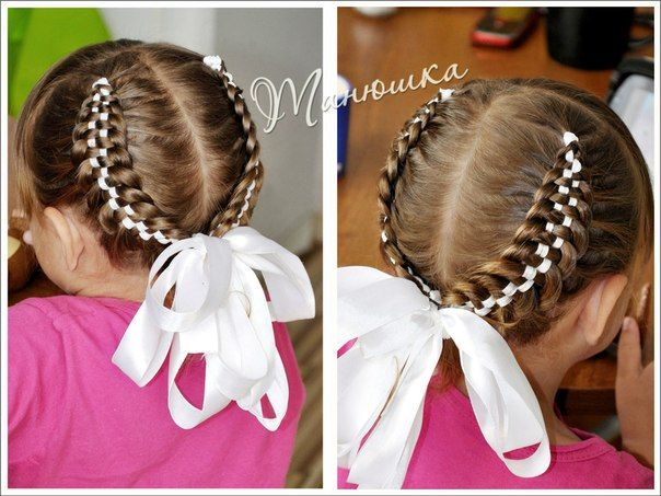 Chequerboard pigtails - cute!