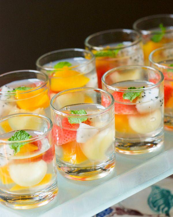 Fruit konnyaku jelly served in shot glasses - so pretty!