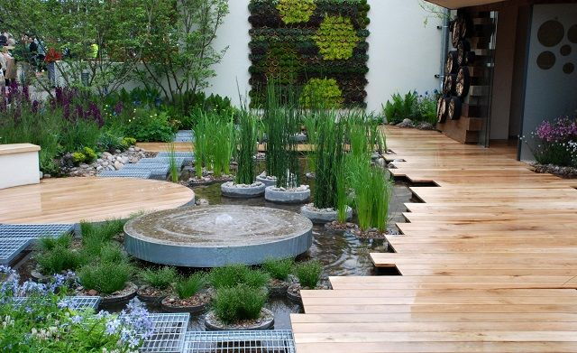 RBC Blue Water Roof Garden Chelsea Flower Show 2013.  Significant water feature on a roof garden.  So, it is possible ...
