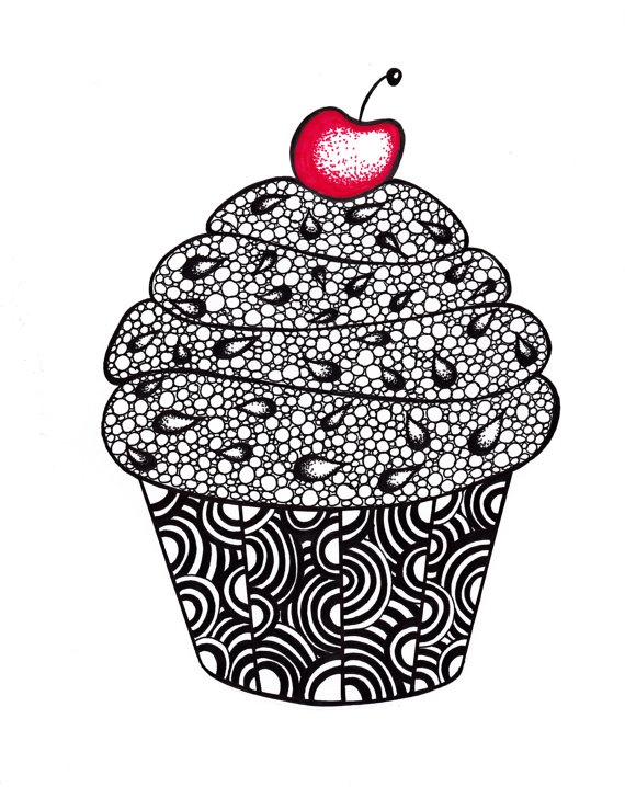 Zentangle Cupcake :-) good example of how you can zentangle anything