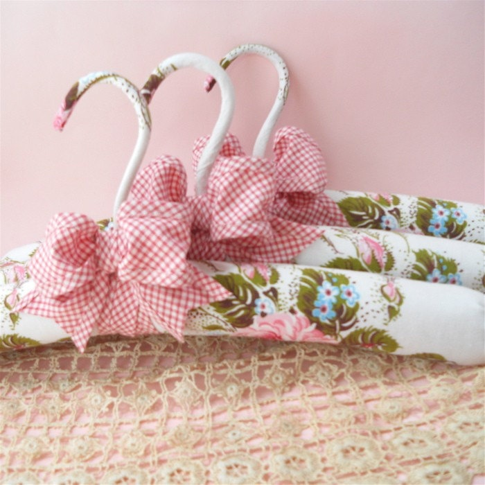 Padded Hangers  with  Vintage Pink Rosebuds.