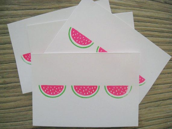 Watermelons  Screen Print Greeting Card by LifeStyledByNManks