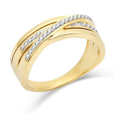 Miore 9ct Yellow Gold Triple Row Diamond Crossover Ring SA925R - Size N: Amazon.co.uk: Jewellery