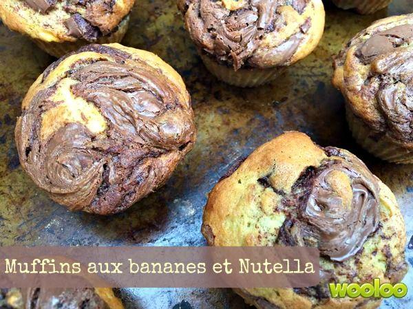 Une autre bonne recette de muffins aux bananes et Nutella à essaye!