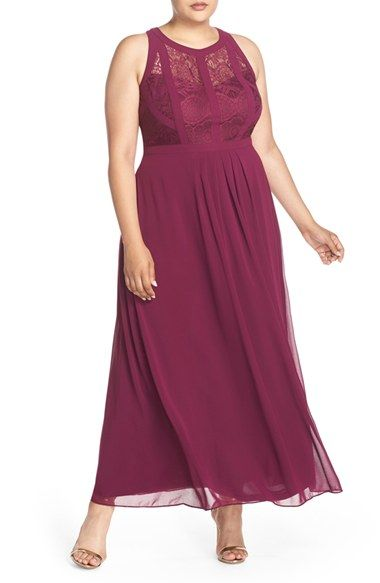 Paneled Lace Bodice Gown (Plus Size) at Nordstrom.com. A dream of a gown features a sleeveless bodice of paneled lace with a captivating cutout design in back. Below the fitted waistband, the pleated chiffon skirt sweeps elegantly to the floor.