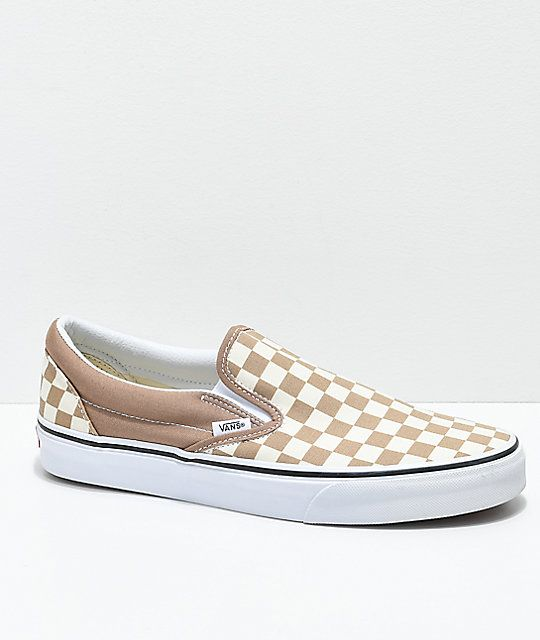 Vans Slip-On Tiger Eye Tan   White Checkered Skate Shoes in 2019 ... bd90a934f