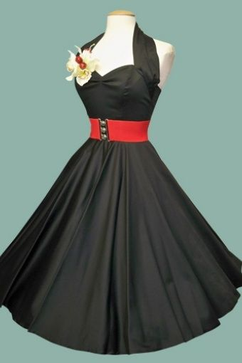 Vivien of Holloway - 50s Retro halter black sateen swing dress: Other cute stuff at this site too!