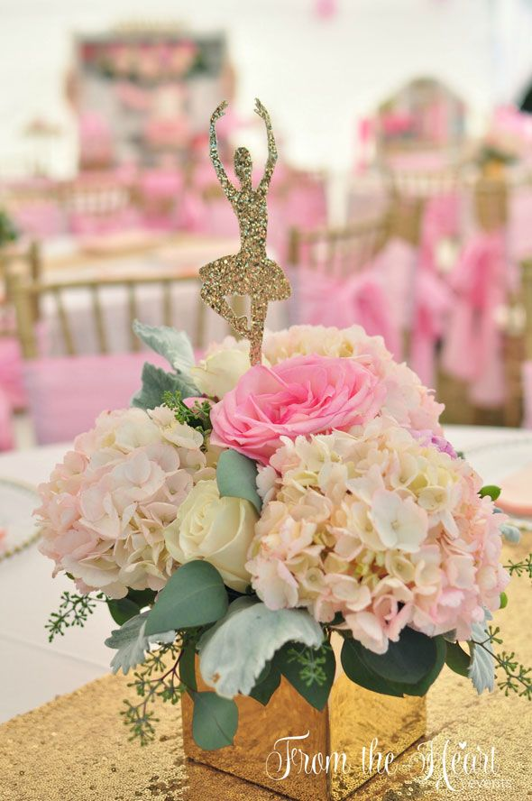 Ballet Themed Birthday Table Centerpiece via Pretty My Party