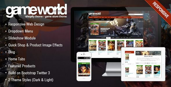 GameWorld - Game Store Shopify Theme & Template eCommerce - Download Here : http://themeforest.net/item/game-store-shopify-theme-gameworld/7049659?s_rank=126&ref=yinkira