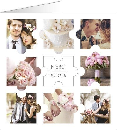 Carte de remerciement mariage photos puzzle. Disponible en 2 formats et à personnaliser sur Popcarte.com