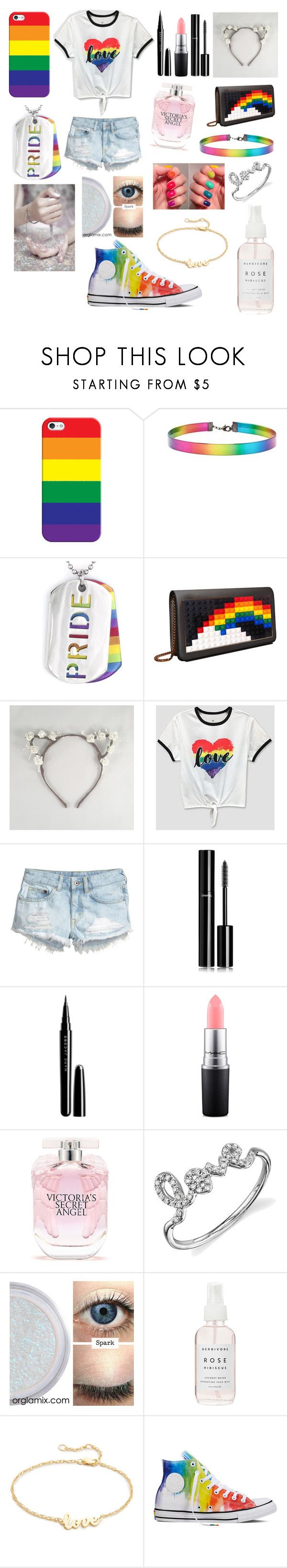 """""""Pride ❤️💛💚💙💜"""" by kyliea26 ❤ liked on Polyvore featuring Casetify, Forever 21, West Coast Jewelry, Les Petits Joueurs, H&M, Chanel, Marc Jacobs, MAC Cosmetics, Victoria's Secret and Sydney Evan"""