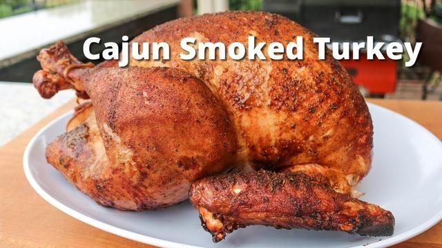 Smoked Turkey Recipe with a cajun turkey brine, seasoning and injection smoked on Yoder Pellet Smoker.