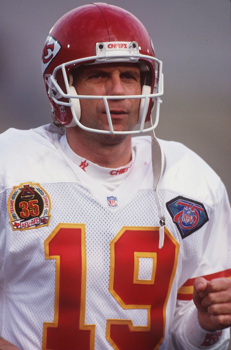 """Pic of Joe Montana, Hall of Fame QB for the Chiefs 1994-95 seasons wearing the Kansas City Chiefs """"35th Year Anniversary"""" patch I helped create."""