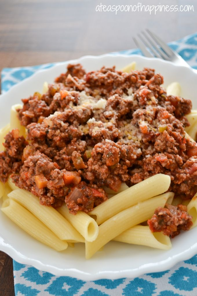 Penne Bolognese... Carrots, onions, celery, and ground beef in a tomato sauce.