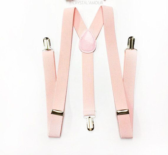 ★This set includes: blush pink suspenders  ★suspenders size measurement (fits adult men 63 tall) full length 42 inches width 1 inch  ♥ Want to see more sets for toddlers? Please click on https://www.etsy.com/shop/crystalAmour  All orders placed will be processed and shipped in 24-48 business via USPS. We ship all items out with excellent care and speedy shipping service.  Domestic U.S. orders will receive their package within 3-7 business days once processed with Standard ...