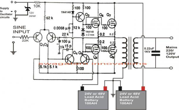 1000 Watt Pure Sine Wave Inverter Circuit Diagram