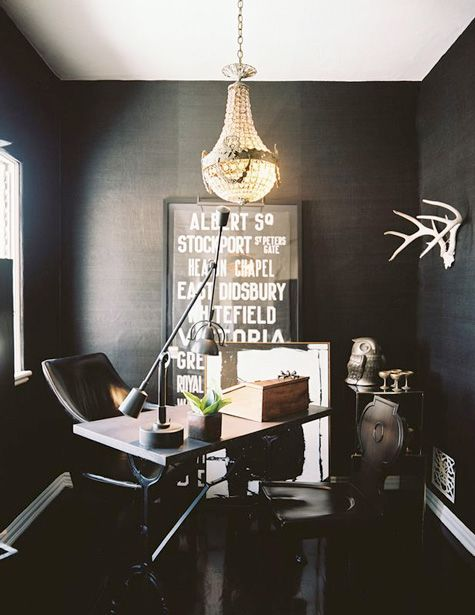 : Black Offices, Offices Spaces, Interiors Design, Work Spaces, Workspaces, Black Rooms, Home Offices, Dark Wall, Black Wall