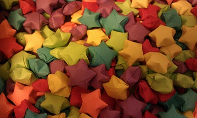 A tutorial on how to make the Chinese paper stars, and then make them into a garland for a Christmas Tree.