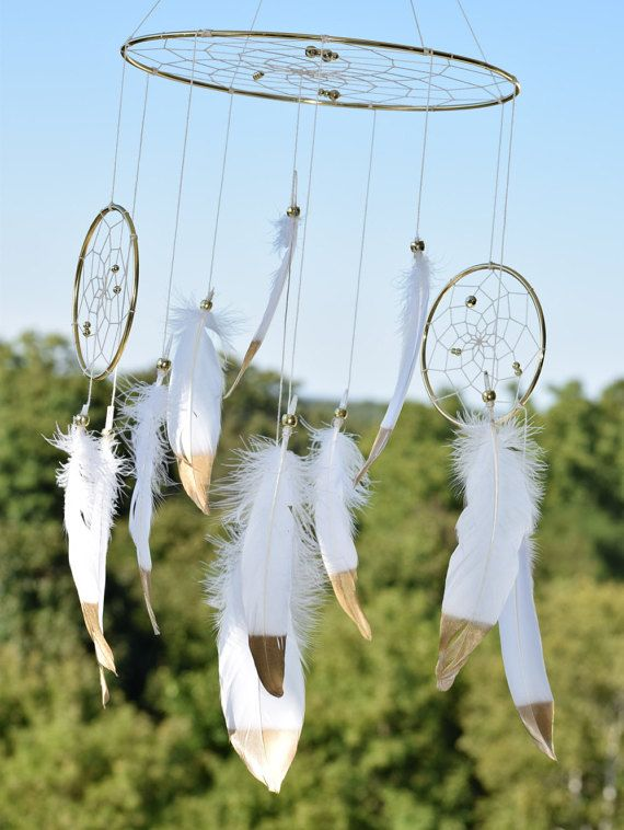 Baby Boy Girl Dream catcher Mobile White by FeatherDreamcatchers