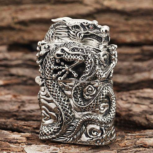 Japanese Handicraft Master Tibetan Silver Dragon Zippo Lighter  www.kingzendo.com