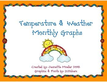 The set includes a weather graph for sunny, cloudy, rainy, windy, foggy, and snowy. It also includes a temperature graph for hot, warm, chilly, and cold. This is a great addition to your calendar routine!  Measurement and Date 1.MDRepresent and interpret data.4.