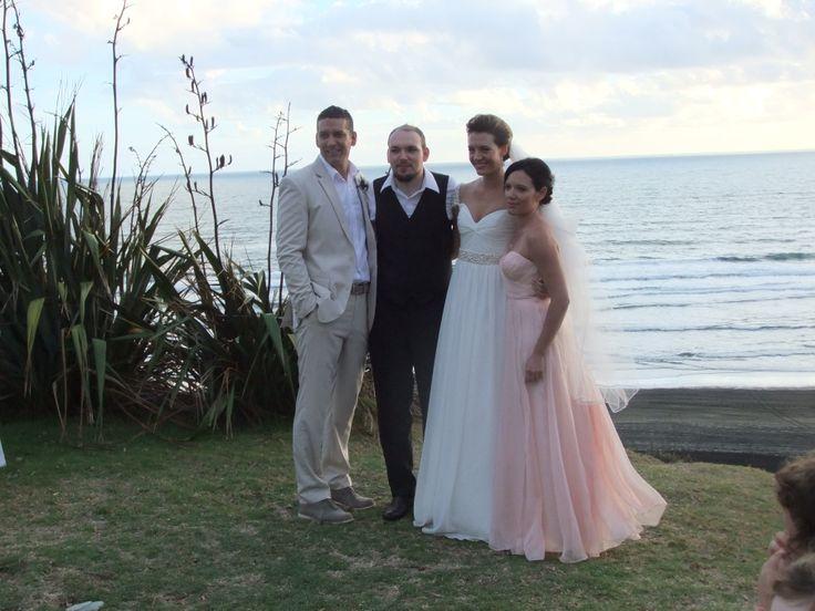 Danella Jade / Castaways / Reem Acra copy / Beige suit / family / blush pink bridesmaid