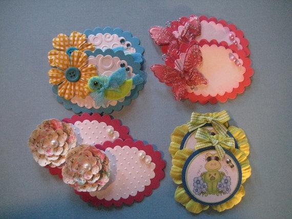 CLEARANCE / Handmade Scrapbook Embellishments / 8 by LOVE2STAMP4U, $7.99