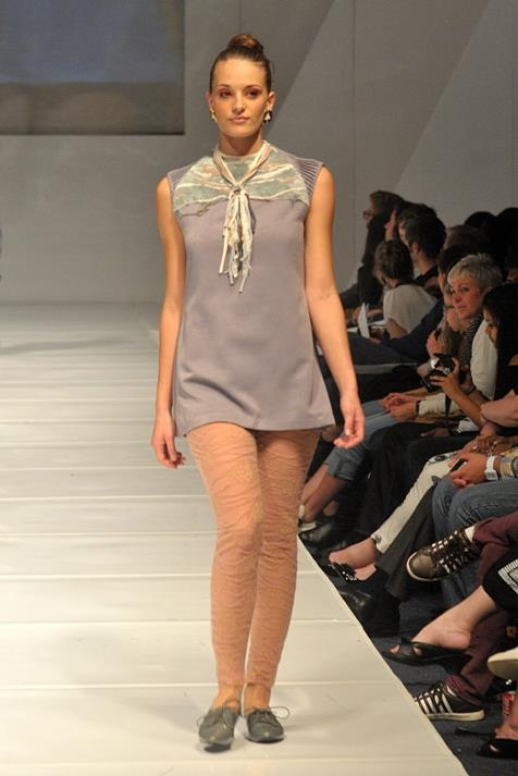 grey tunic with handmade textile detail, paired with see through leggings. The neck piece is also handmade by me