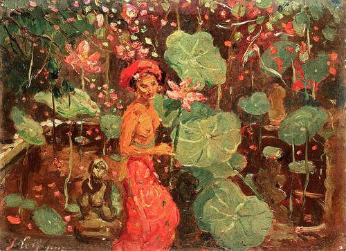 Adrien-Jean Le Mayeur de Merprès - A Balinese Woman in a Garden by irinaraquel on Flick