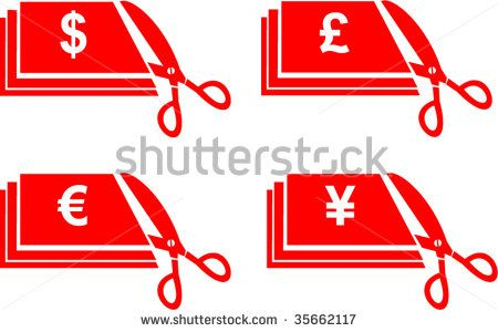 Scissors cutting money with dollar,sterling pound,euro and yen currency symbols isolated on white #currecy #retro #illustration