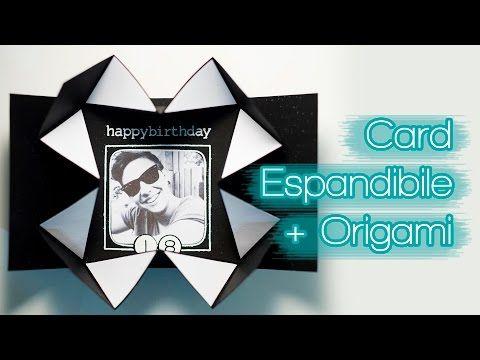 DIY Tutorial Card Espandibile + Origami - Biglietto di Compleanno Social per Ragazzo - Maschile Uomo - YouTube