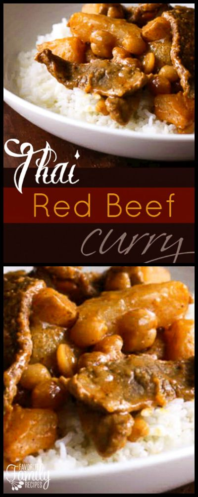 This Thai Red Beef Curry dish is one of my favorite Thai recipes. The potatoes, sliced steak, and peanuts in the flavorful Thai sauce is served over rice. via @favfamilyrecipz
