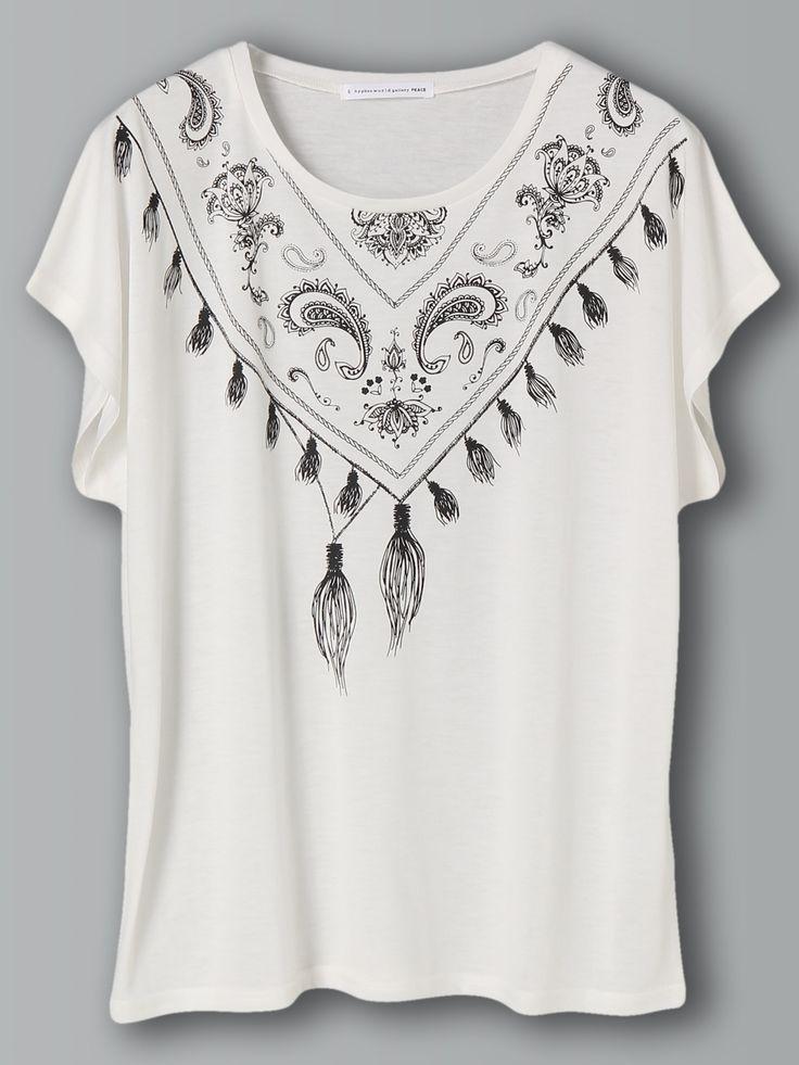 E hyphen world gallery(イーハイフンワールドギャラリー) |バンダナプリントTシャツ(オフホワイト)