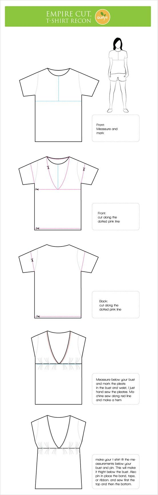 how to turn a t-shirt into an empire waist shirt (could be maternity too...)