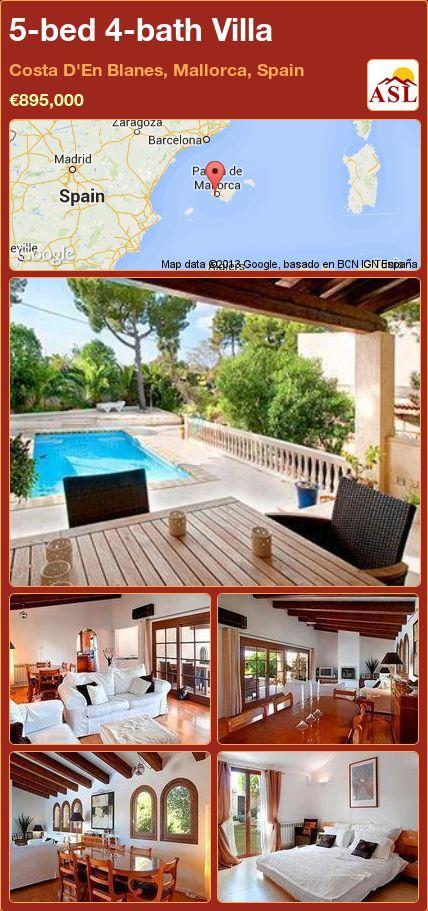 5-bed 4-bath Villa in Costa D'En Blanes, Mallorca, Spain ►€895,000 #PropertyForSaleInSpain
