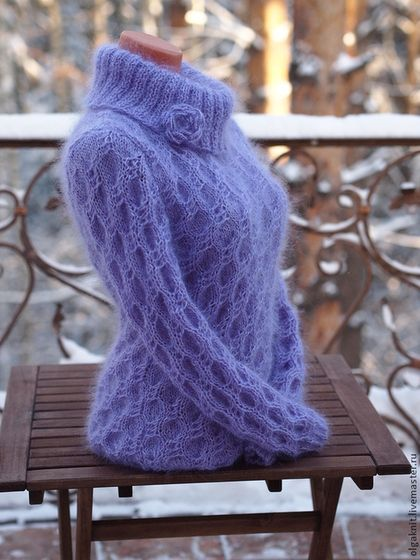 Gorgeous lilac pure mohair wool womens sweater. Hand-knit with silky smooth mohair wool yarn. Extra comfortable and exceptionally warm. olgaknit.etsy.com or olgaknit.livemaster.ru