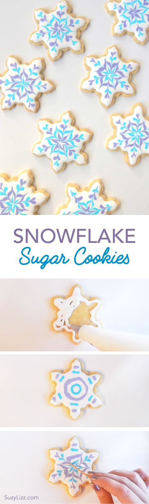 Easy snowflake decorating tutorial using royal icing and sugar cookies. Easy winter Holiday Christmas DIY