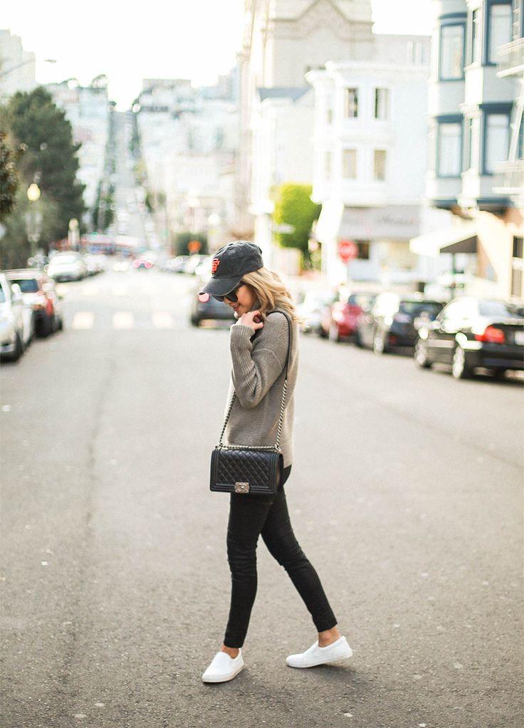 Baseball Hat Outfit Grey Sweater Chanel Le Boy Bag Beyond Basic Blog